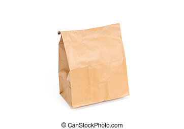 marrone, bianco, carta, isolato, borsa