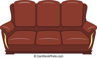 marrone, bianco, isolato, fondo, divano