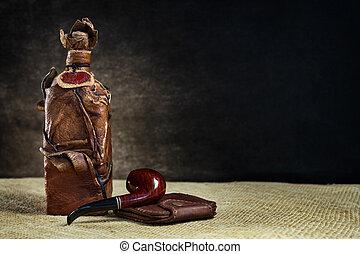 marrone, bottiglia, cuoio, vendemmia, borsellino, tubo, fondo, scuro