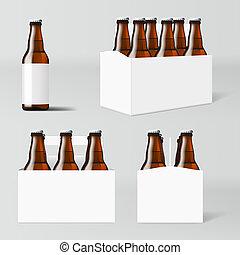 marrone, bottiglie, chiaro, sei, birra, bianco, pacco