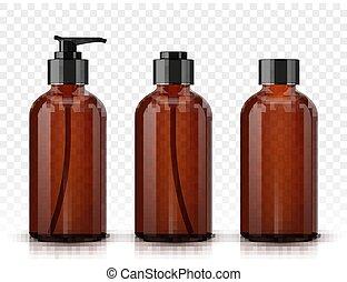 marrone, bottiglie, cosmetico, isolato, fondo, trasparente