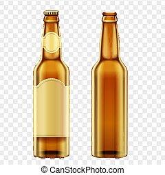 marrone, bottiglie, illustration., dorato, realistico, birra, vettore, fondo., alfa, transperant
