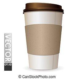 marrone, caffè, lid., tazza, luce, spazio, grande vetro, cartone, logo., vuoto
