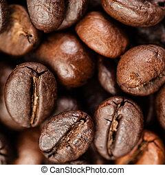 marrone, caffè, macro, su, struttura, fondo., fagioli, fondo...