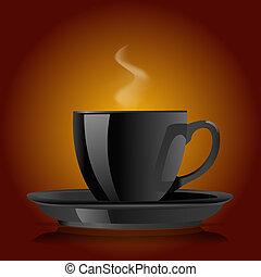 marrone, caffè, sfondo nero, tazza