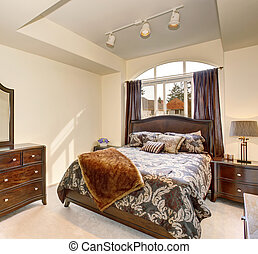 marrone, carpet., confortevole, lettiera, nord-ovest, camera letto, bianco