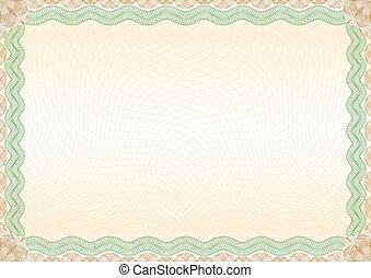 marrone, certificato, bordo, paesaggio verde