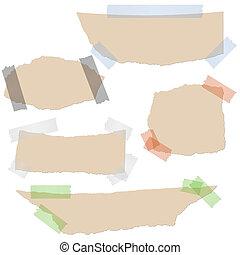 marrone, -, collezione, carta, nastro, scarti