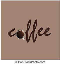 marrone, colore tazza caffè, immagine, vettore, fondo