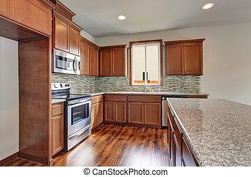 marrone, contatore, gabinetto, stanza, legno duro, moderno, cime, floor., granito, cucina