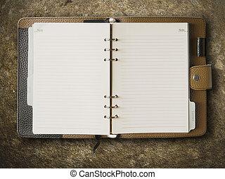 marrone, cuoio, coperchio, rilegatore, quaderno, nero