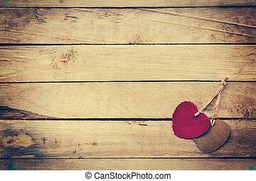 marrone, cuore, legno, vendemmia, due, fondo, style., rosso