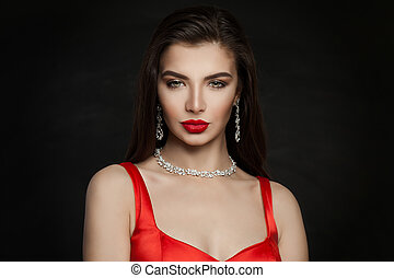 marrone, diamante, trucco, scuro, labbra, donna, brunetta, splendido, collana, capelli, rosso