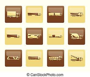marrone, differente, camion, camion, icone, sopra, fondo, tipi