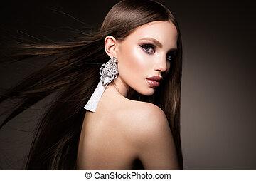 marrone, donna, bellezza, molto, hair., liscio, capelli lunghi, sano, brunetta, splendido, modello, baluginante