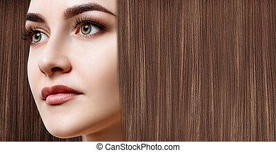 marrone, donna, lungo, lussuoso, capelli, fondo.