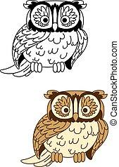marrone, e, colorless, cartone animato, gufo, uccello, mascotte