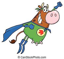 marrone, eroe, mucca, volare, carattere, super, cartone animato, mascotte