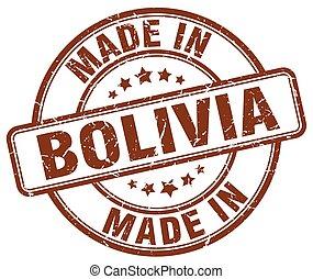 marrone, fatto, grunge, francobollo, bolivia, rotondo