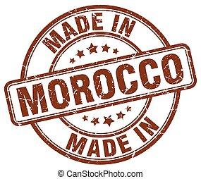 marrone, fatto, grunge, francobollo, marocco, rotondo