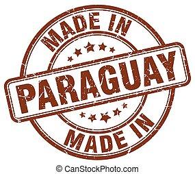 marrone, fatto, grunge, francobollo, paraguay, rotondo