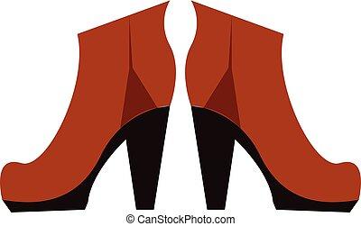 marrone, femmina, vettore, stivali, illustrazione