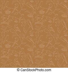 marrone, flora, rami, modello, -, seamless, vettore, rowan, fauna, bacche, uccelli