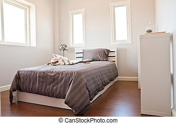 marrone, foglio bianco, letto, camera letto