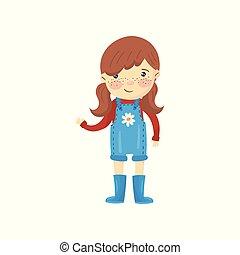 marrone, freckles, stivali, disegno, capelli, ragazza, blu, poco, calzoncini, vestito, face., giovane, contadino, rosso, appartamento, occhi, generale, cartone animato, sweater., vettore, giardiniere, baluginante