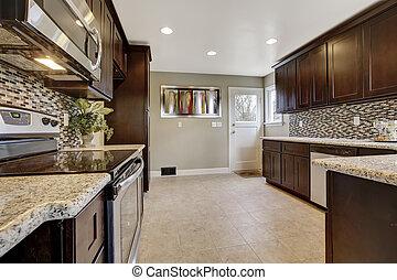 marrone, gabinetto, moderno, magazzino, scuro interno, cucina
