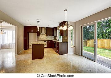 marrone, gabinetto, stanza, backya, moderno, metallina, uscita, cucina