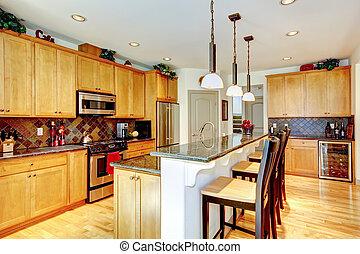 marrone, gabinetto, stanza, inossidabile, contatore, top., granito, cucina, acciaio