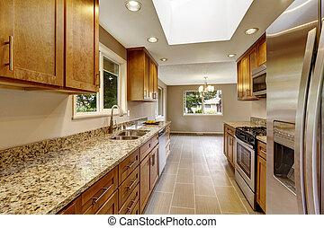 marrone, gabinetto, stanza, moderno, cime, metallina, granito, baluginante, cucina