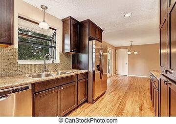 marrone, gabinetto, tops., interno, granito, cucina