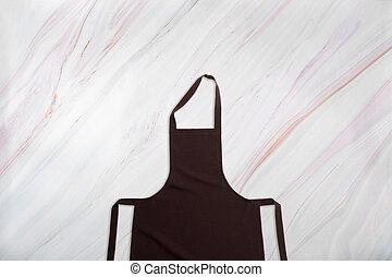 marrone, grembiule, modello, fondo, marmo, cucina