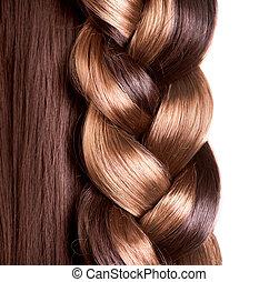 marrone, hairstyle., su, capelli lunghi, chiudere, treccia