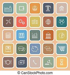 marrone, icone, appartamento, fondo, linea, economia