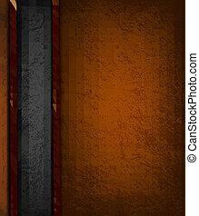 marrone, illustration., vendemmia, leather., vettore, sfondo nero