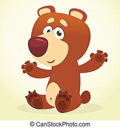 marrone, illustrazione, vettore, bear., cartone animato, felice