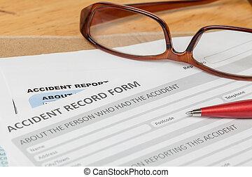 marrone, incidente, affari, forma, busta, rischio, domanda, penna, manichino, relazione, documento, assicurazione, lente, concept;
