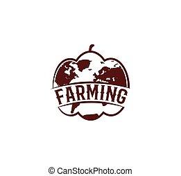 marrone, insolito, colorare, globo, bianco, isolato, illustrazione, rotondo, fondo, forma, vettore, verdura, logotipo, logotype, agricoltura, astratto, zucca