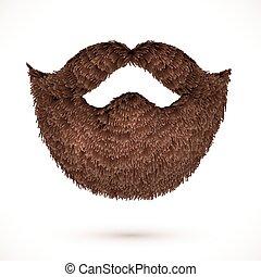 marrone, isolato, fondo, baffi, bianco, barba