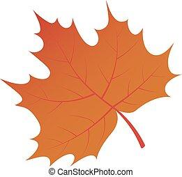 marrone, isometrico, foglia, albero, stile, autunno, icona