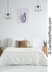 marrone, king-size, cuscino, letto