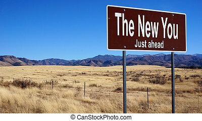marrone, lei, strada, nuovo, segno