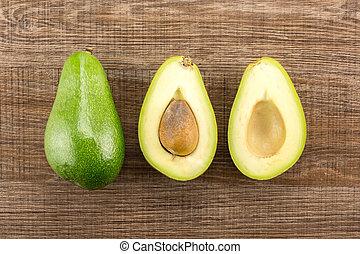 marrone, liscio, avocado, crudo, legno, fresco