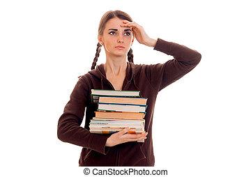 marrone, lotto, lei, stanco, studente, isolato, libri, proposta, fondo, mani, ragazza, sport, bianco, far male, vestiti
