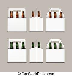 marrone, luce, bottiglie, fondo, fronte, marcare caldo, vista, isolato, su, imballaggio, vetro, birra, vettore, verde, chiuso, vuoto, scuro, chiudere, cartone, trasparente, lato