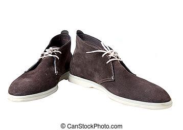 marrone, maschio, cuoio, scarpe, isolato, bianco