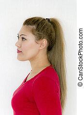 marrone, moda, hairstyle., bellezza, sano, diritto, capelli lunghi, ragazza, modello, coda cavallo
